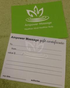 Ampowermassage Gift Vouchers